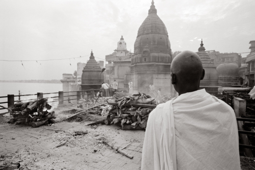Cremation, Varanasi, India- Fine Art Black and White photography. Glen Green Photography